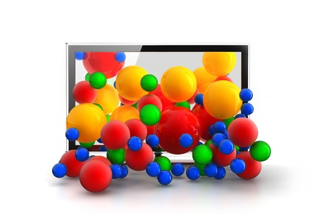 Colored spheres falling from 3D TV Stock Photo - 9162840