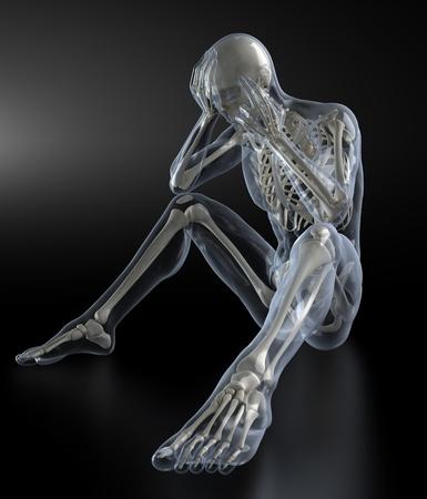 x ray skeleton: Head Pain concept