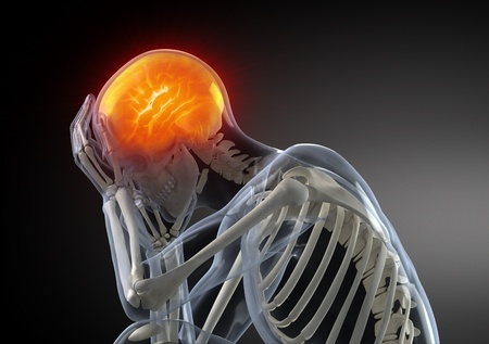 head injury: Head Pain concept