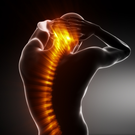 dolor en el pecho: An�lisis de columna vertebral de cuerpo masculino