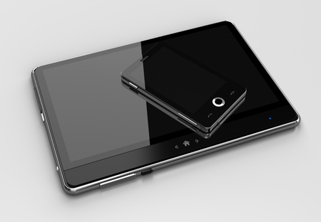 touch pad: Digital pad with cell phone Stock Photo