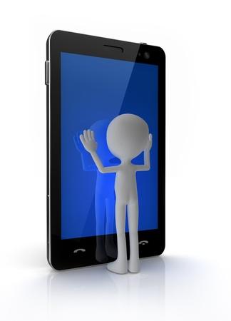 bonhomme allumette: Homme touchant téléphone portable avec écran tactile