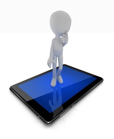 bonhomme allumette: Debout pensée de l'homme sur le numérique pad