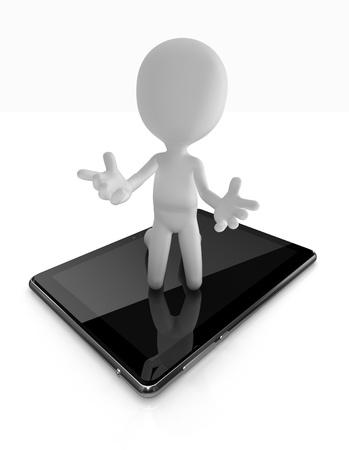 bonhomme allumette: Man demander de l'aide sur tablette numérique Banque d'images