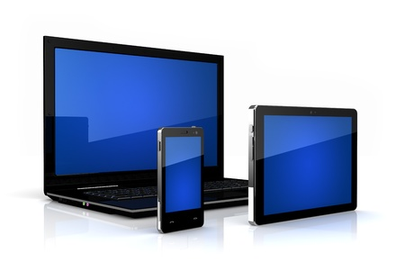 portable information device: Touch-screen family - digital tablet, phone and laptop Stock Photo