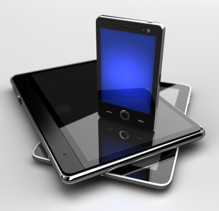 portable information device: Glowing mobile phone standing on digital pads Stock Photo