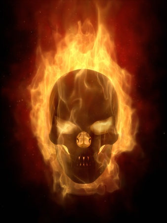 Burning skull in hot flame photo