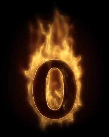 zero: Burning number zero in hot fire Stock Photo