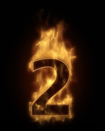 Burning number TWO in hot fire photo