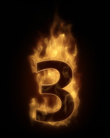 flame alphabet: Burning number THREE in hot fire
