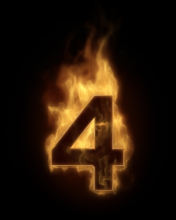 number four: Burning number FOUR in hot fire