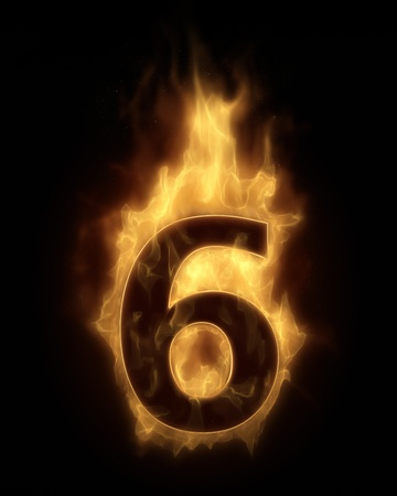 numbers abstract: Burning number SIX in hot fire Stock Photo