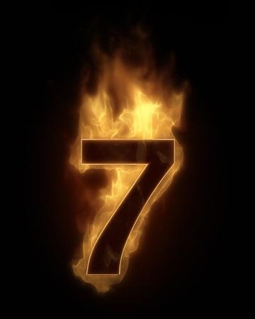 number seven: Burning number SEVEN in hot fire