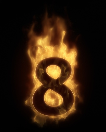 Burning number EIGHT in hot fire photo