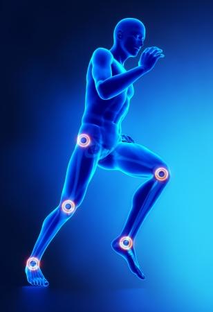 masaje deportivo: Articulaciones de la pierna herida concepto