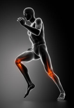sportmassage: Runing man met gemarkeerde knie botten Stockfoto
