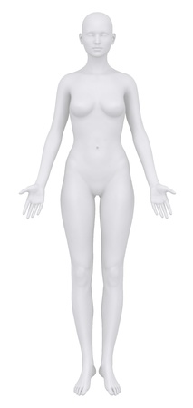 anatomical: Female body in anatomical position anterior