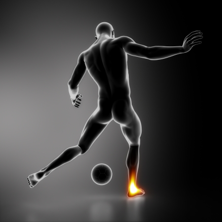 leg injury: Most stressed sportsman joints ANKLE Stock Photo