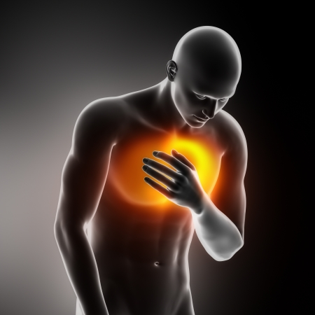 attacks: Heart-attack pain in chest Stock Photo