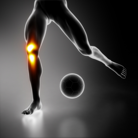 Sport stressed knee joint photo