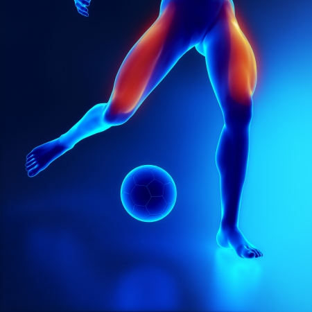sport injury: Sporstman stressed leg muscle quadriceps Stock Photo