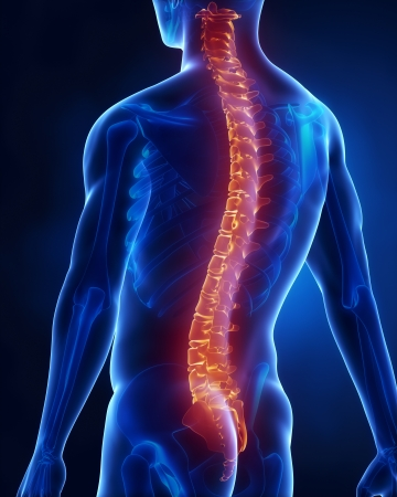 Man with glowing backbone Standard-Bild