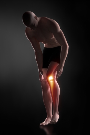 Man knee pain concept photo