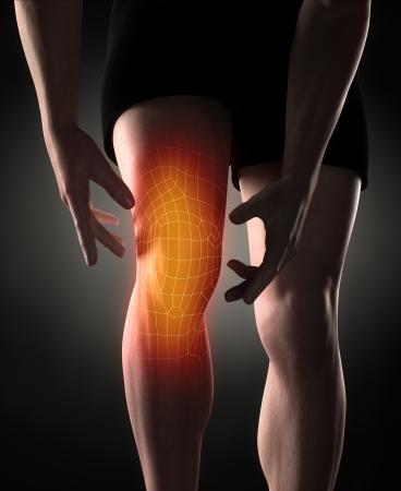 Man knee pain concept Standard-Bild
