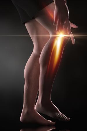 leg muscle: Man knee pain concept Stock Photo