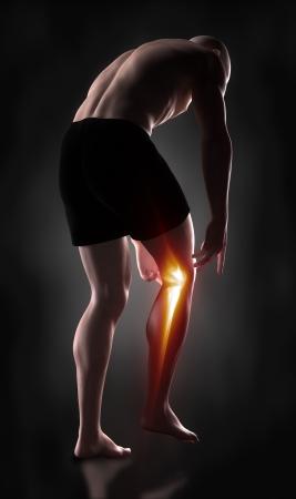 sport injury: Man knee pain concept Stock Photo