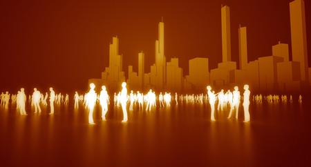 Menschenmenge in Stadtkonzept Standard-Bild - 63181654