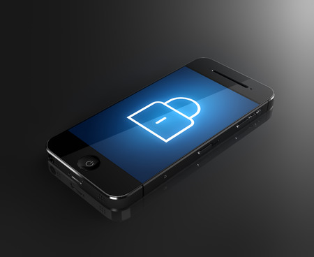 Smartphone with lock icon - security concept Standard-Bild