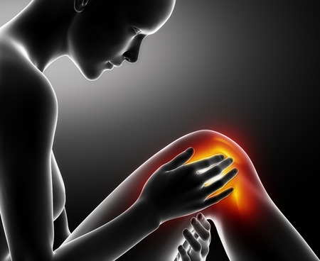 Female knee injured and sprained Stock Photo