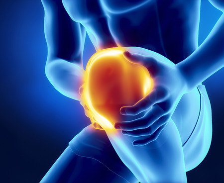Male knee injured and sprained Фото со стока - 32385786