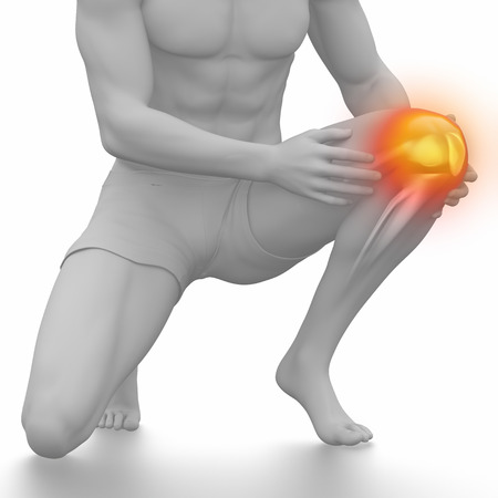 sprained joint: Man knee injured and sprained isolated on white