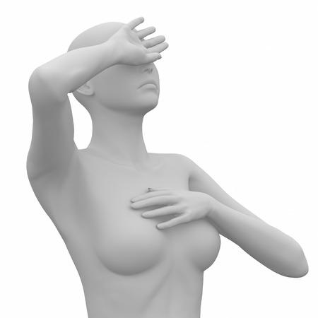 Female headache on white photo