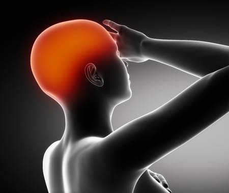 Head pain concept on black photo