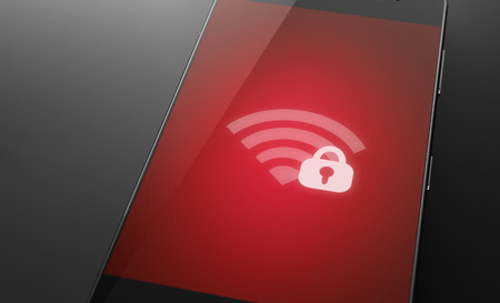 secured: Secured and locked wi-fi network icon on smart phone screen