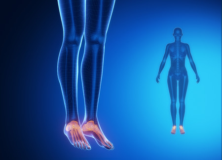 axial: ANKLE blue x--ray bone scan Stock Photo
