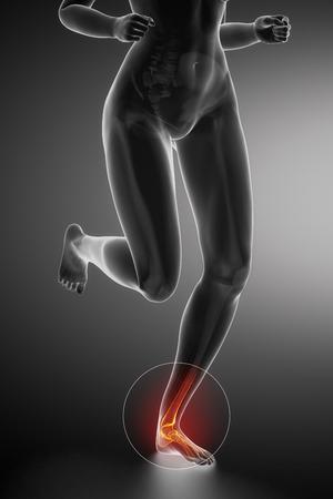 flexion: Running woman - ankle anatomy