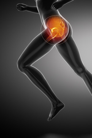Running woman - hip anatomy