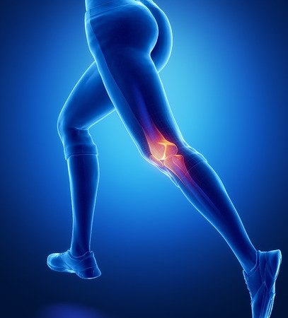 human muscle: Injured knee with highlights Stock Photo