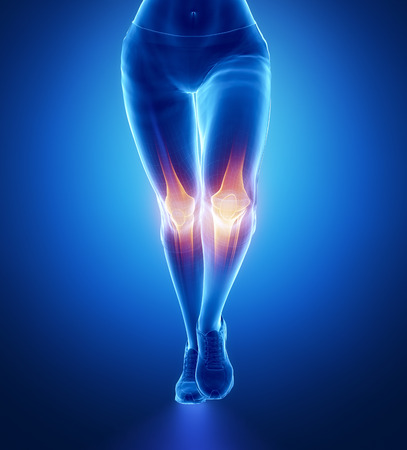Injured knee with highlights Stock Photo