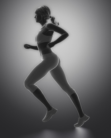 Jogging woman pose Banque d'images