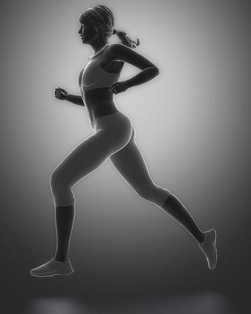 body human: Jogging woman pose Stock Photo