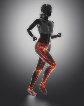 flail: Jogging woman legs anatomy