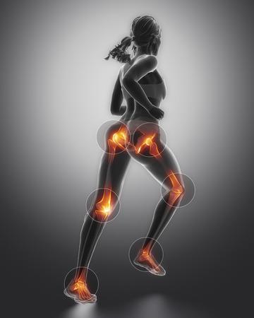 Leg de meeste gewonden regoins in de sport - enkel, heup, knie