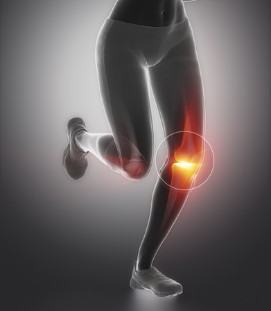 Focused on knee and meniscus in sports injuries Stock Photo