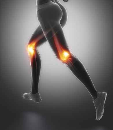 meniscus: Focused on knee and meniscus in sports injuries Stock Photo