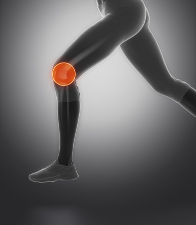 flail: Focused on knee and meniscus in sports injuries Stock Photo